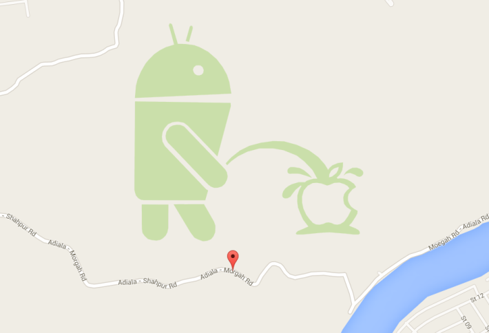 Android pees on Apple